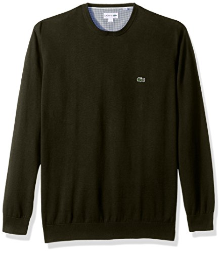 Lacoste Men's Crewneck Cotton Jersey Sweater with Green Croc, Sherwood, Large