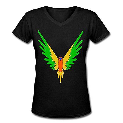 Mom's care Maverick Logo T Shirt,Logan Paul Logang Youtube Womens V Neck T-Shirts (Black01, S)
