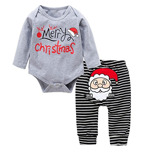 Baywell Christmas Baby Outfit Set, Baby Santa Claus Stripe Romper Pants 2pcs Set