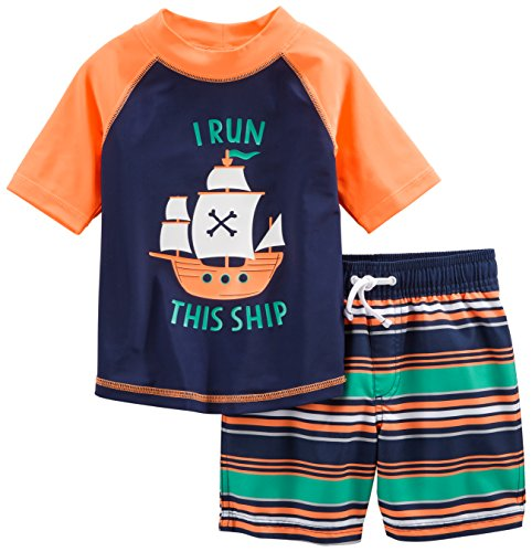 Simple Joys by Carter's Baby Boys' Toddler 2-Piece Swimsuit Trunk and Rashguard, Orange Blue Ship, 3T