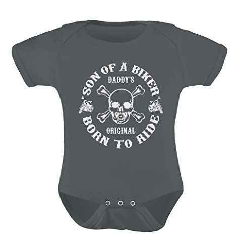 Tstars Unisex- Son of A Biker Baby Bodysuit 6M Dark Grey