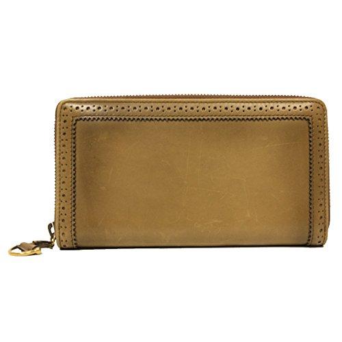 GUCCI Brogue Zip Around Brown Leather Wallet