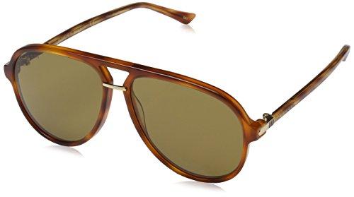 8a2d3fea1e251 Gucci Men s Brown Havana Retro Aviator Sunglasses 58mm Clout Wear