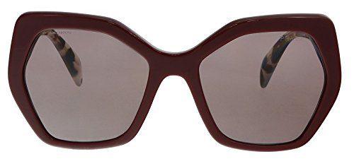 Prada Women's Oversized Geometric Glasses, Bordeaux/Purple Brown, One Size