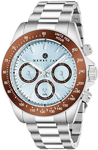 "Henry Jay Mens Stainless Steel Multifunction ""Specialty Aquamaster"" Watch with GMT-Day-Date and Tachymeter Display"