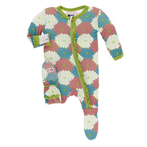 Kickee Pants Print Classic Layette Ruffle Footie with Zipper Tropical Flowers (Newborn)