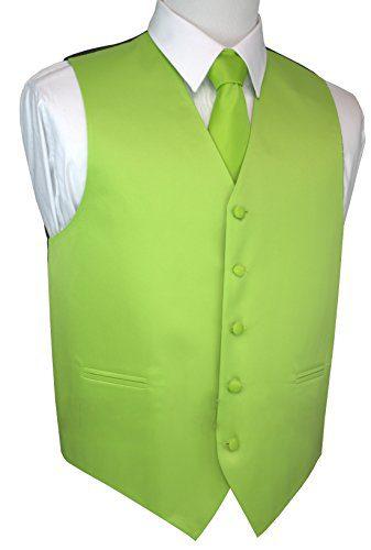 Brand Q Italian Design, Men's Tuxedo Vest, Tie & Hankie Set - Lime - 6XL