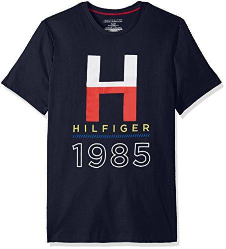 Tommy Hilfiger Men's Short Sleeve Crew Neck Graphic T-Shirt, Dark Navy/Heather Graphic Print, Large