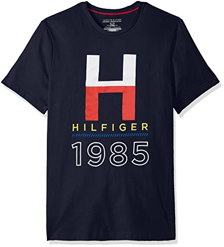 Tommy Hilfiger Men's Short Sleeve Crew Neck Graphic T-Shirt, Dark Navy/Heather Graphic Print, Large