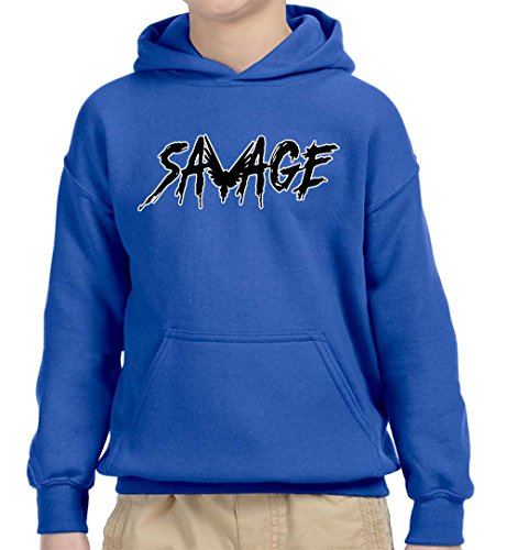 New Way 825A - Youth Hoodie Savage Maverick Logang Logan Paul Unisex Pullover Sweatshirt Large Royal Blue