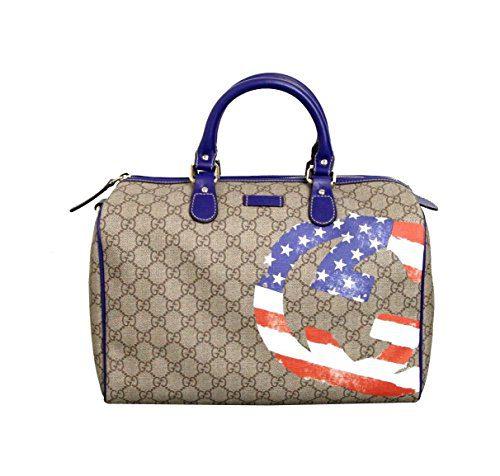 Gucci Beige Coated American Flag Canvas Joy Boston Satchel Bag(Medium)