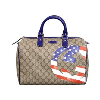 Gucci Beige Coated American Flag Canvas Joy Boston Satchel Bag(Medium)