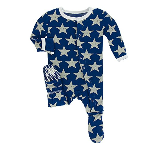 Kickee Pants Little Boys Print Footie With Snaps - Vintage Stars, 12-18 Months