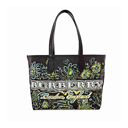 Burberry Reversible Flower Doodle Canvas Tote - Black