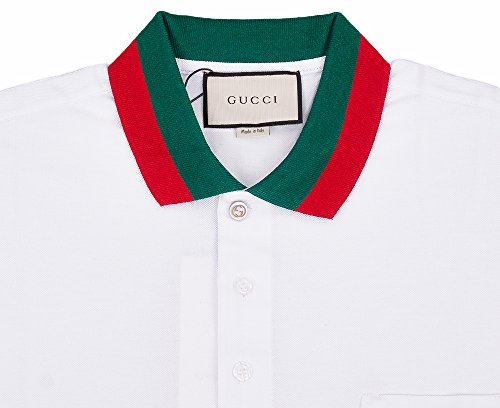 a2eead1e Gucci Mens Polo Shirt White with Green and Red Collar (2XL) Clout ...