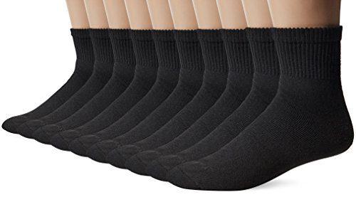 Gildan Men's Big and Tall Ankle Socks (10 Pair Pack), Black, Shoe Size: 12-15