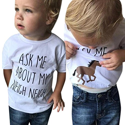 ®GBSELL Little Girls Boys Summer Clothes Cow Horse Inside Letter Soft Tops Cute T-Shirt (Horse, 2T)