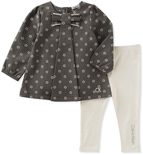 Calvin Klein Baby Girls' Tunic Legging Set, Grey/Vanilla, 24M