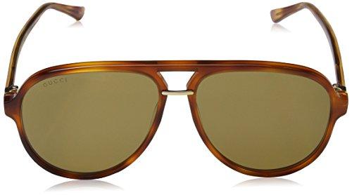 9c6ef7497ab32 Home   Shop   Men   Accessories   Sunglasses   Eyewear   Gucci Men s Brown  Havana Retro Aviator Sunglasses 58mm