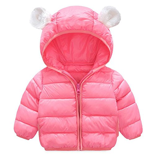Baby Boys Girls Winter Puffer Down Jacket Kids Ear Warm Coat Thicken Cotton Hoodie Outwear Lightweight Windproof Jacket (6-12 Months, Pink)