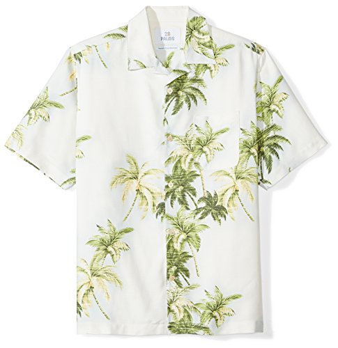 28 Palms Men's Relaxed-Fit 100% Silk Hawaiian Shirt, Natural/Green/Blue Palm Tree, XX-Large