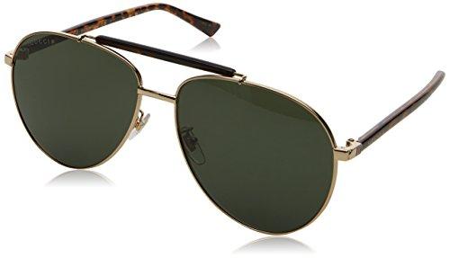 Gucci Men Gold/Green Sunglasses 60mm