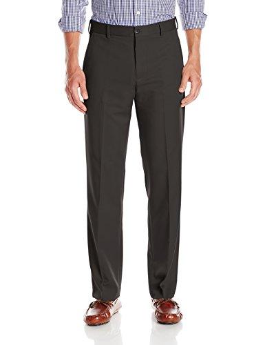 Van Heusen Men's Traveler Classic Fit Flat Front Pant, Black, 36W x 30L