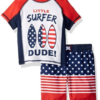 Baby Buns Baby Boys Two Piece Surf USA Rashguard Swimsuit Set, Multi, 6-9 Months