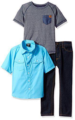 American Hawk Toddler Boys' Short Sleeve Shirt, T-Shirt and Pant Set (More Styles), Blue-SJ79, 2T