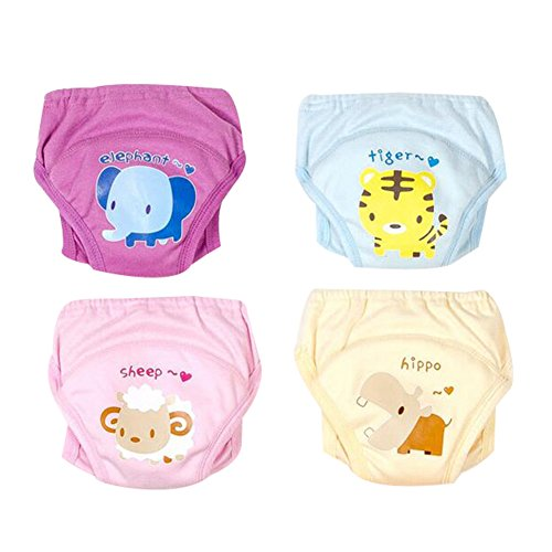 Baby Boys Girls Training Underwear Anti-Leakage Diaper Potty Training Pants Reusable Set of 4 Pieces (Size 80/6-9M)