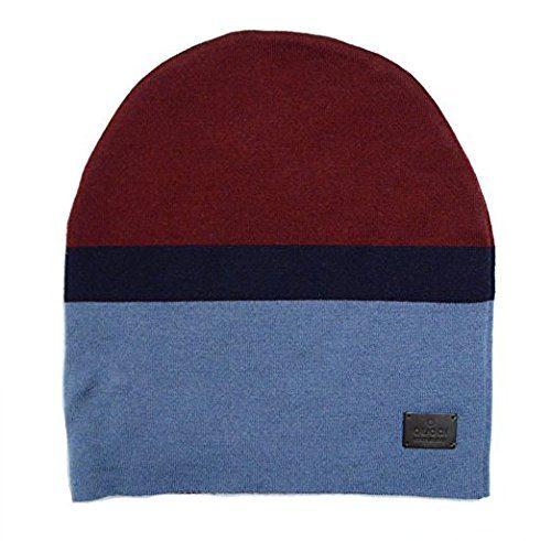 Gucci Men's Ski Burgundy Blue Wool Beanie Hat (Medium)