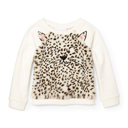 The Children's Place Baby Little Girls' Long Sleeve Popover Sweatshirt, Snow, 5T
