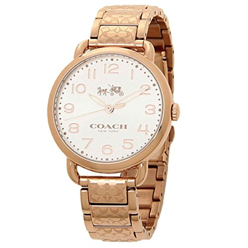 COACH Women's Delancey 36mm Etched Bracelet Watch White Sunray/Rose Gold One Size