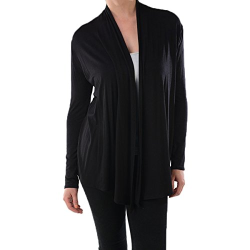 Azules Women's Rayon Span Open Front Drape Cardigan, Black, Small