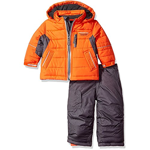 London Fog Baby Boys 2-Piece Snow Pant and Jacket Snowsuit, Orange, 24M
