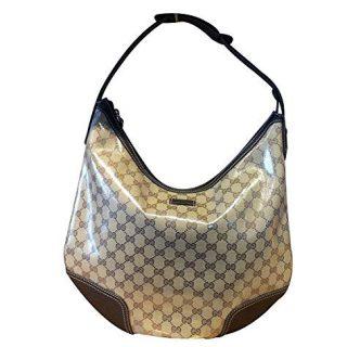 Gucci Brown Crystal Canvas Large Princy Hobo Handbag