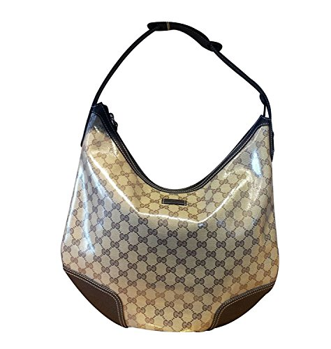 Gucci Brown Crystal Canvas Large Princy Hobo Handbag