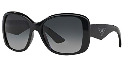 Prada Sunglasses (57 mm, Shiny Black Frame Polarized Black Lens)