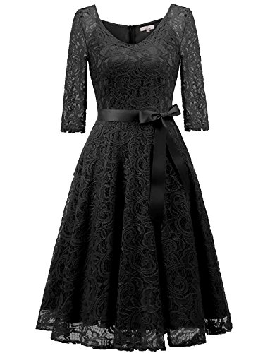 Dressystar 0018 V Neck Lace 3/4 Sleeve Bridesmaid Wedding Guest Dress Slim Waist XL Black