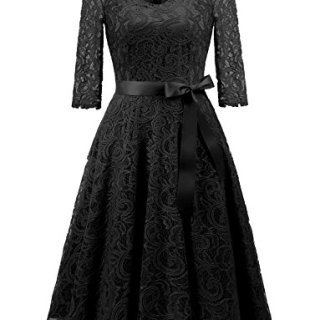 Dressystar 0018 V Neck Lace 3/4 Sleeve Bridesmaid Wedding Guest Dress Slim Waist XL Black