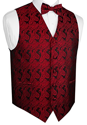 Brand Q Men's Formal, Wedding, Prom, Tuxedo Vest & Bow-Tie Set-Apple Paisley-XL