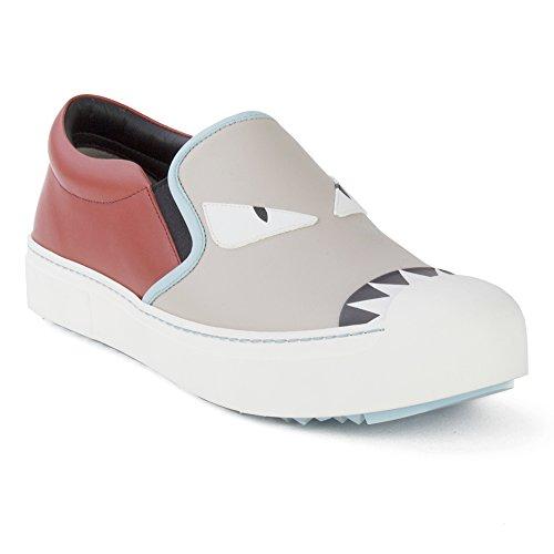 Fendi Women's Leather Embellished Slip-On Sneaker Shoes Red/Grey