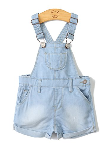 Baby Girls/Boys Big Bibs Raw Edge Light Blue Summer Jeans Shortalls,Light Blue,18-24 Months
