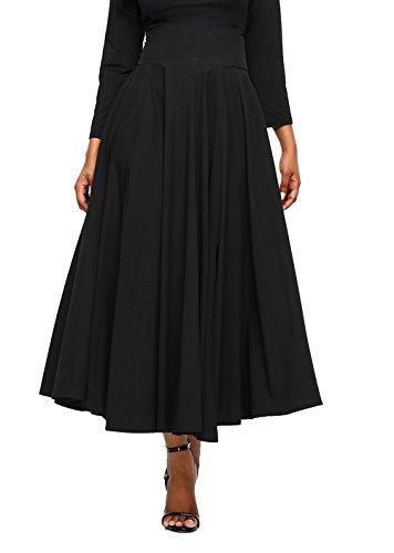 Asvivid Women's Solid High Waisted Full Midi Skirt Pocket Long Skirt Dresses XX-Large Black