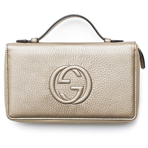 6d44f886f043c9 Gucci Soho Golden Beige Wallet Double Zip Clutch Travel Leather Bag Flat Italy  New