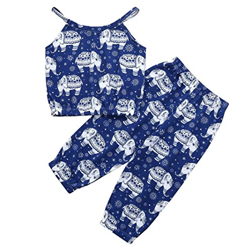 Lurryly 2Pcs Baby Girls Cartoon Elephant Print Tops+Pants Clothing Set Outfits 1-5T (Size:3T, Label Size:110, Blue)