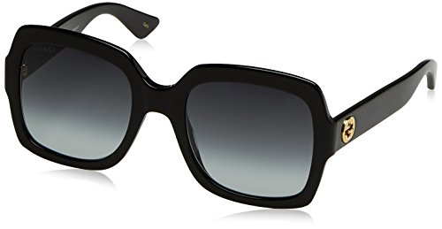 Womens Gucci 54mm Square Sunglasses, 54/22/140, Black / Grey / Black