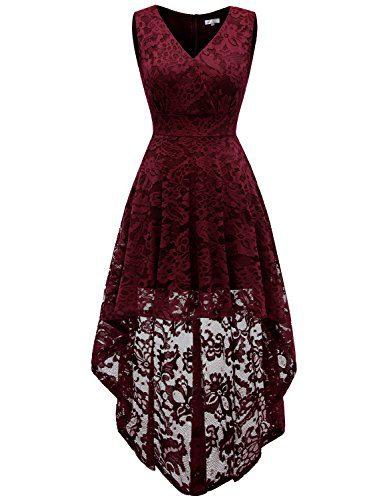 Dressystar 0022 Sleeveless Hi-Lo Lace Bridesmaid Dress Cocktail Party Dress M Burgundy