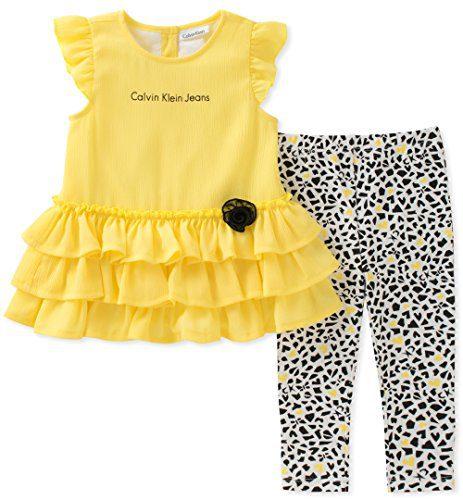 Calvin Klein Baby Girl's Tunic Legging Set Pants, Yellow/Print, 12M