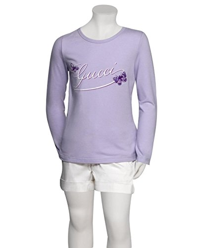 Gucci Kids Lilac Butterfly Embroidery Long Sleeve Top T-Shirt (5)